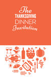 Thanksgiving invitation template. Thanksgiving dinner invitation display with table setting and blank spce for text stock illustration