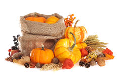 Thanksgiving with jute bag Royalty Free Stock Photos