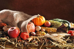 Thanksgiving with jute bag Stock Photo