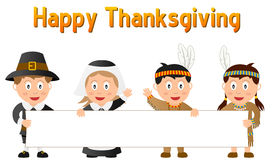 Thanksgiving Kids and Banner Royalty Free Stock Photography
