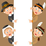 Thanksgiving Kids & Blank Sign. Thanksgiving Pilgrim and Native (or Indian) kids with a blank sign. Useful also for greeting cards. Eps file available vector illustration