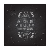 Thanksgiving label with text on chalkboard background Stock Photos