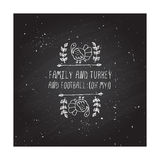 Thanksgiving label with text on chalkboard background Royalty Free Stock Photo