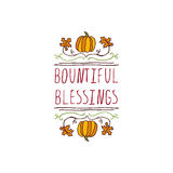 Thanksgiving label with text on white background Royalty Free Stock Photo
