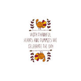 Thanksgiving label with text on white background Stock Photo