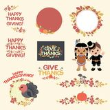 Thanksgiving Leaves Decoration. This is a set of thanksgiving autumn seasonal decoration elements. It is easy to edit, all elements are grouped together royalty free illustration