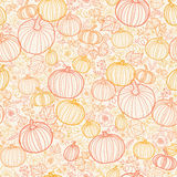 Thanksgiving line art pumkins seamless pattern Stock Photo