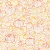 Thanksgiving line art pumkins seamless pattern Stock Photo