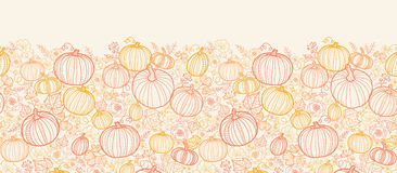 Thanksgiving line art pumkins vertical seamless Stock Photo
