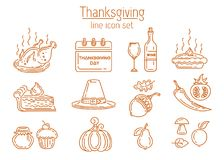 Thanksgiving line icon set. Symbols collection for Thanksgiving Day. Vector illustration isolated on white background Stock Photos