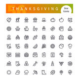 Thanksgiving Line Icons Set Stock Image