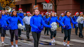Thanksgiving Macy Parade 2016. Portland, Oregon, USA - November 25, 2016: Hillsboro High School Marching Band in the annual My Macy's holiday Parade across Stock Photography