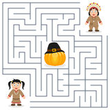 Thanksgiving Maze for Kids - Native. Thanksgiving maze game for children. Help the two Native or Indian characters find the way to the pumpkin to celebrate vector illustration