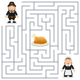 Thanksgiving Maze for Kids - Pilgrims. Thanksgiving maze game for children. Help the two Pilgrim characters find the way to the turkey to celebrate Thanksgiving stock illustration
