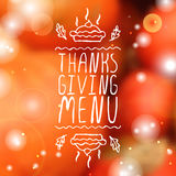 Thanksgiving menu - typographic element Royalty Free Stock Photo