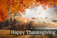 Thanksgiving Message on Autumn Background Design. Digital Composite of Thanksgiving Message on Autumn Background Design Stock Images