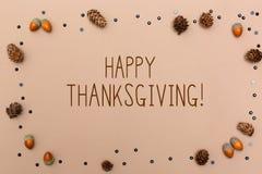 Thanksgiving message with autumn theme royalty free stock photo