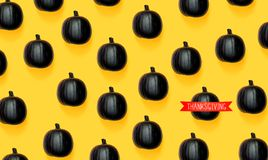 Thanksgiving message with black pumpkins. Thanksgiving message with black colored pumpkin patterns royalty free illustration