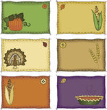 Thanksgiving Name Tags. A collection of folk art styled autumn and Thanksgiving name tags or placecards Stock Photos