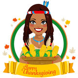 Thanksgiving Native American Woman Stock Photography