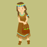 Thanksgiving Native Girl Carrying Basket of Apples Stock Photo