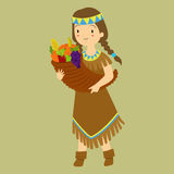 Thanksgiving Native Girl Carrying Fruit Horn Royalty Free Stock Photography