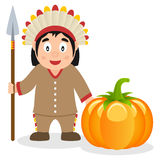 Thanksgiving Native with Spear & Pumpkin Stock Photo