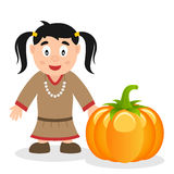 Thanksgiving Native Woman & Pumpkin Royalty Free Stock Photography