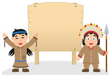 Thanksgiving Native and Wooden Banner. Two cartoon Thanksgiving Day Native or Indians (man and woman) with blank wooden banner, isolated on white background. Eps Stock Photo