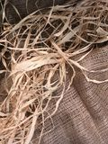 Thanksgiving natural beige pattern with straw and sackcloth Stock Images