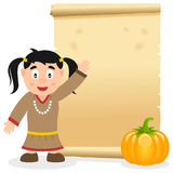 Thanksgiving Parchment with Native Girl. A Thanksgiving Day invitation card with a Native or Indian woman, a pumpkin and an old parchment scroll. Eps file Stock Image