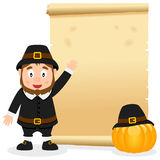 Thanksgiving Parchment with Pilgrim Boy Royalty Free Stock Images