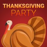 Thanksgiving party concept banner, cartoon style vector illustration
