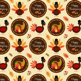 Thanksgiving pattern with turkeys. Vector Stock Photography