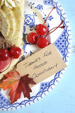 Thanksgiving pie on blue vintage table - vertical closeup. Stock Photo