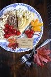 Thanksgiving pie on dark wood - vertical. Royalty Free Stock Image