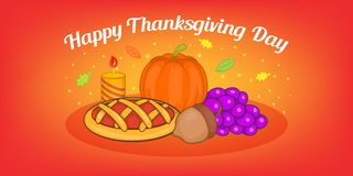 Thanksgiving pie horizontal banner, cartoon style. Thanksgiving pie horizontal banner concept. Cartoon illustration of thanksgiving pie vector horizontal banner Royalty Free Stock Images