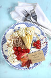 Thanksgiving Pie on vintage blue wood - vertical. Stock Photos