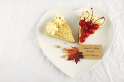 Thanksgiving pie on white table with copy space. Stock Photo