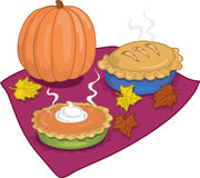 Thanksgiving pies. Full color vibrant illustration of pumpkin and apple pies for thanksgiving vector illustration