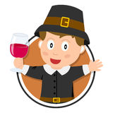 Thanksgiving Pilgrim Boy Logo Stock Photography