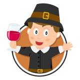Thanksgiving Pilgrim Boy Logo Stock Photography