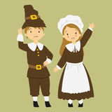 Thanksgiving Pilgrim Couple Royalty Free Stock Photos