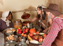 Thanksgiving pilgrim dinner Stock Images
