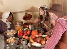 Thanksgiving pilgrim dinner stock images