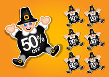 Thanksgiving Pilgrim discount sticker, label Royalty Free Stock Photography