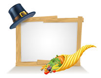 Thanksgiving Pilgrim Hat Cornucopia Sign Royalty Free Stock Images