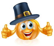 Thanksgiving pilgrim hat pumpkin man Stock Photo