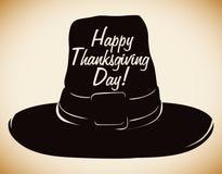 Thanksgiving Pilgrim Hat Silhouette, Vector Illustration Royalty Free Stock Image
