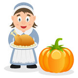 Thanksgiving Pilgrim Housewife & Pumpkin Royalty Free Stock Images